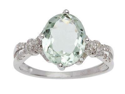 Weiss Gold 3.20ct Ct Oval Grün Amethyst und Split-Schaft Diamantring ()