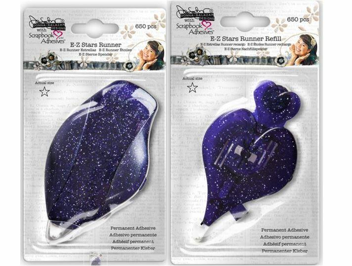 Scrapbook Adhesives  EZ RUNNER DISPENSER & REFILL ~  STARS ~PERMANENT  ~650pcs