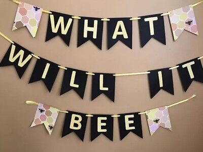 Neutral Baby Shower Bumble Bee Banner And 1 Dozen Cupcake Toppers  (Baby Shower Neutral Decorations)