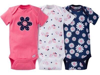 GERBER BABY GIRL Onesies Bodysuits Variety 3-Pack Baby Shower Gift - DAISIES - Girl Baby Shower Gifts