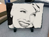 Pink Singer Sketch Art Portrait on Traditional Slate 30x20cm Rare and Collectable