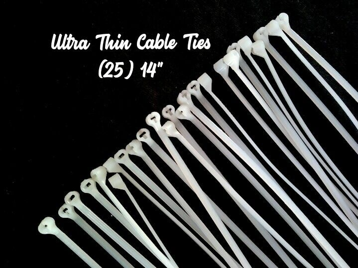 """Ultra Thin Cable Ties for Reborn Doll Supply, 25 -14"""" Thomas & Betts Ties TY234M"""
