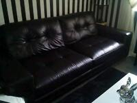 As new 3 and 2 seater black real leather sofas