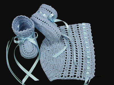 Crochet Thread Light Blue Boy Girl Bonnet & Booties Newborn Doll Baby Reborn on Rummage