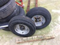 "Trailer Wheel Rim and Tyre 5.00 x 10 6 PLY 4"" PCD caravan boat trailer"