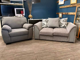 Grey 2 seater sofa and armchair set £145