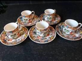Five Oriental Cups and saucers espresso size