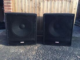 Passive Kam Sub speakers with cases