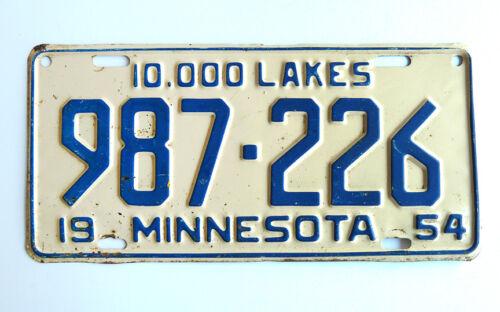 Vintage 1954 Minnesota License Plate ~ Tag Car Auto Nascar Speedway