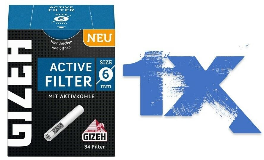 Gizeh Aktiv Active Filter 6mm Zigarettenfilter Aktivkohlefilter Joint Tips 1X