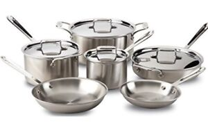 All-Clad 10 D5 Brushed Stainless Steel 10 Piece Cookware Set