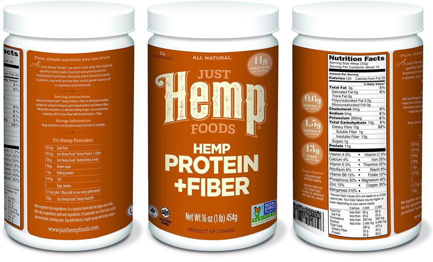 Just Hemp Foods Hemp Protein Powder Plus Fiber Non-GMO 5