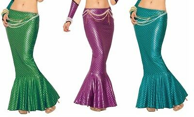 Mermaid Long Tail Skirt Metallic Ariel Sexy Fish Tail Adult Womens Costume Sea](Mermaid Costume Womens)