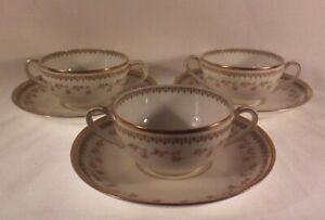 Théodore Haviland Limoges handled cream soup cup/bowl & saucers
