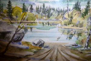 """Kurt Maurer """"Laurentian Spring"""" 1978 Original Vintage Watercolor Stratford Kitchener Area image 8"""