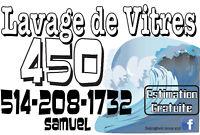 Lavage de vitres et vidanges de gouttieres 514-208-1732