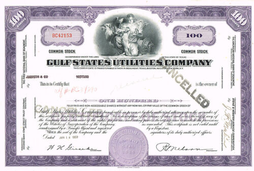 ORIG 1959 GULF STATES UTILITIES COMPANY 100 SHARES STOCK CERTIFICATE W/ VIGNETTE