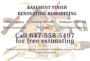 Basement Finish / Renovation / Remodeling / General Contracting