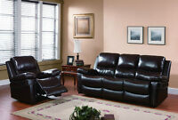 NEW Brown Top Grain Leather Reclining Sofa Set!