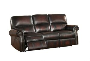 Brooklynn Amax Leather reclining sofa, super comfy, in stock,NEW
