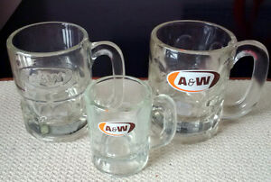 3 Vintage A&W Glass Root Beer Mug Steins - Small Medium Embossed