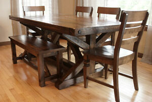 Reclaimed Wood Chateau Trestle Dining Table by LIKEN Woodworks