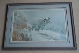 Ron Parker Framed, Signed Print - Winter's Fury Mountain Goats