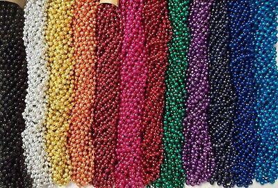 60 Choice Mardi Gras Beads Party Favors Metallic Necklaces 5 Dozen Lot Metallic Mardi Gras Beads