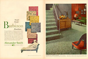 1950 2-page magazine ad for Alexander Smith Carpet