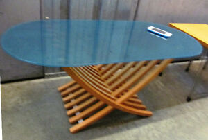 COFFEE TABLE - OCEAN COLOUR GLASS TOP  **REDUCED**