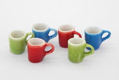 Dollhouse Miniature Set of 6  Colorful Mugs