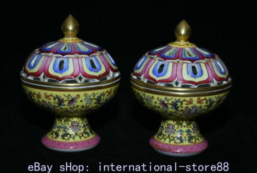 "5.2"" Top Grade Old China Famille Rose Porcelain Flower Incense Burners Pair"