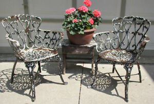 2 VINTAGE HAUSER SOLID CAST IRON SHABBY CHIC CHAIRS -