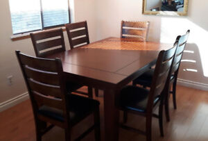 Solid Hardwood Dining Table w/ 8 Chairs