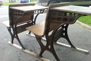 Complete Set of Antique School Desks DECOR Turn of the Century