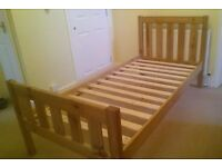 Pine single bed in as new condition - natural pine finish - no varnish