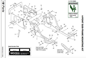 Subframe for Kubota 4330 to fit a woods 9000 backhoe