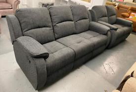 Grey fabric 3 and 2 manual recliner set