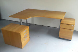 Computer desk with cabinets