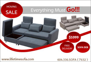 Corner sofa bed with a  storage,