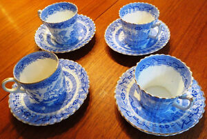 Antique English Blue Willow Cups and Saucers