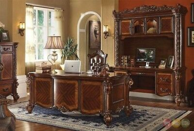 Vendome Executive Italian 4pc Home Office Set w/ Carved Wood in Rich -