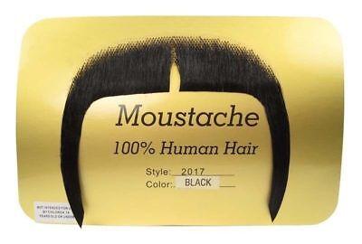 Moustache Mandarin Fu Man Chu  Long Biker Black Human Hair Rubies 2017 (Rubies Halloween 2017)