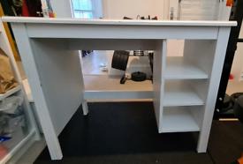 IKEA white desk with 3 shelves
