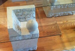 Contemporary Coffee &  End Tables, Glass & Carved Limestone Base Cambridge Kitchener Area image 2