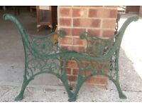 Pair Of Vintage Green Cast Iron Garden Bench Ends With Lion Mask Decoration