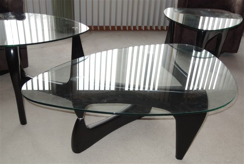 4 EAMES ERA Isamu Naguchi Style Glass Top Coffee & End Tables & Console Table
