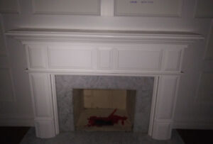 Fireplace Mantle - White, All Solid Wood Painted White