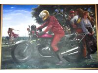 MOTORCYCLE OIL PAINTING ON CANVAS