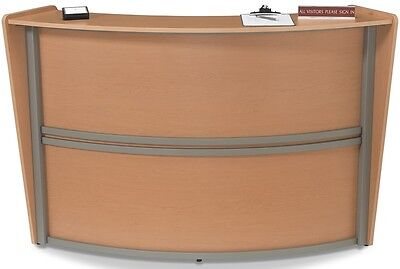 Contemporary Reception Desk in Maple Finish with Silver Frame